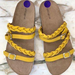 Indigo rd. Suade Slide Sandals  Mustard Yellow 8.5